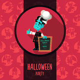 Halloween vector illustration in style flat about vampire chef Stock Images