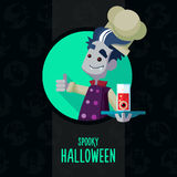 Halloween vector illustration in style flat about vampire chef Stock Photography