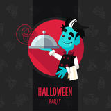 Halloween vector illustration in style flat about vampire chef Stock Image