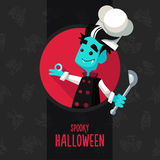 Halloween vector illustration in style flat about vampire chef Royalty Free Stock Images
