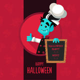 Halloween vector illustration in style flat about vampire chef Royalty Free Stock Photography
