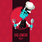 Halloween vector illustration in style flat about vampire chef Stock Photo