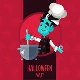Halloween vector illustration in style flat about vampire chef Royalty Free Stock Photo