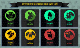 Halloween vector illustration in style flat about vampire Stock Images