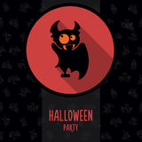 Halloween vector illustration in style flat about vampire Stock Photos