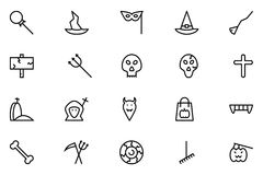Halloween Vector Line Icons 6 Stock Photography
