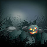 Halloween vector night scene Royalty Free Stock Image