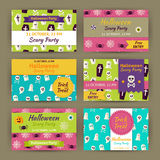 Halloween Vector Party Invitation Template Flat Set Royalty Free Stock Photos