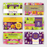 Halloween Vector Party Template Invitation Modern Flat Set Stock Images