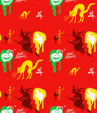Halloween vector pattern red ghosts Stock Image