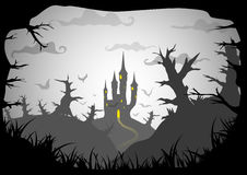 Halloween vector poster. Halloween black and white poster spooky castle horizontal a3, a4 format size. Vector background royalty free illustration