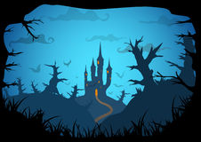 Halloween vector poster. Halloween blue poster spooky castle horizontal a3, a4 format size. Vector background stock illustration