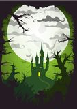 Halloween vector poster. Halloween green poster castle at night with full moon vertical a3, a4, a5 format size. Vector background vector illustration