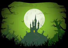 Halloween vector poster. Halloween green colored poster spooky castle with full moon, horizontal a3, a4 format size. Vector background vector illustration