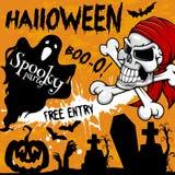 Halloween vector poster holiday spooky skull party Stock Photo