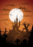 Halloween vector poster. Halloween orange poster castle at night with full moon vertical a3, a4, a5 format size. Vector background vector illustration