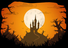 Halloween vector poster. Halloween orange colored poster spooky castle with full moon, horizontal a3, a4 format size. Vector background vector illustration