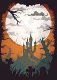 Halloween vector poster. Halloween orange old movie style poster castle at night with full moon vertical a3, a4, a5 format size. Vector background stock illustration