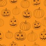 Halloween vector print seamless pattern with jack-o-lantern pumpkin. Stock Photos