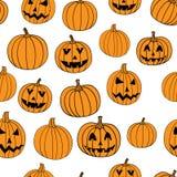 Halloween vector print seamless pattern with jack-o-lantern pumpkin. Stock Images