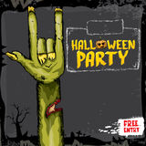 Halloween vector rock n roll zombie background Stock Images