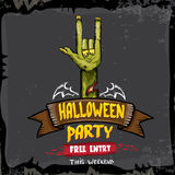 Halloween vector rock n roll zombie background Stock Image