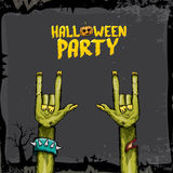 Halloween vector rock n roll zombie background Royalty Free Stock Photo