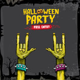 Halloween vector rock n roll zombie background Royalty Free Stock Image