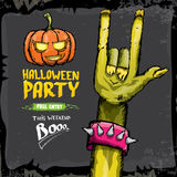 Halloween vector rock n roll zombie background Stock Photos