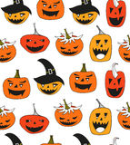 Halloween vector seamless pattern with angry pumpkins.  Stock Image