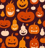 Halloween Vector Seamless Pattern. Decorative Background With Funny Drawing Pumpkins. Cute Silhouettes. Stock Image