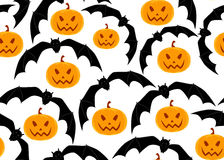 Halloween vector seamless pattern with flying bats and pumpkins Stock Photo