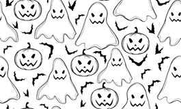 Halloween vector seamless pattern with ghosts and bats Royalty Free Stock Photography