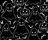 Halloween vector seamless pattern with ghosts, pumpkins and flying bats Stock Photography