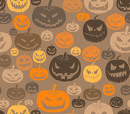 Halloween. Vector seamless Halloween pattern with set of scary pumpkins Stock Photo