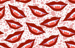 Halloween vector seamless pattern with smiling vampire lips and sticking out fangs Stock Photography
