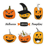 Halloween vector set with angry pumpkins.  Stock Photography