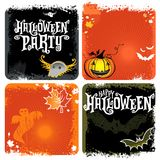 Halloween vector set of backgrounds with lettering Royalty Free Stock Photography