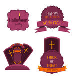 Halloween vector set badge with label and sticker, crosses. Flyer or invitation template for happy party illustration. Stock Photos