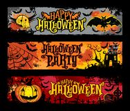 Halloween vector set of horizontal grunge banners Royalty Free Stock Photo