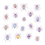 Halloween set illustration of funny colored spiders isolated on transparent background royalty free stock photos