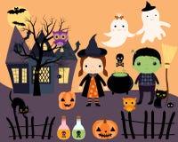 Halloween vector set of kids in costumes Stock Photos