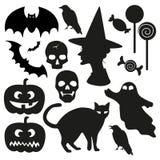 Halloween vector set. Halloween vector silhouette illustration set Stock Images