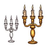 Halloween vector sketch icon candle in candlestick. Halloween candle in candlestick sketch icon. Vector burning flame three candles in old retro brass stock illustration
