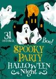 Halloween vector spooky party invitation poster Stock Photo