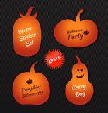 Halloween vector stickers angry pumpkins. Collection with decorative funny pumpkins silhouettes Stock Photos