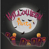Halloween vector vertical background with crosses, night, pumpkins, candle and full moon. Flyer or invitation template for happy. Party illustration Royalty Free Stock Photography