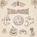 Halloween vector vintage engraving crosshatch drawn hatching Royalty Free Stock Image