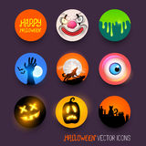 Halloween-Vektor-Ikonen Stockfotografie