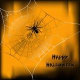 Halloween-Vektorhintergrund mit Spinne auf Netz Stockfotografie